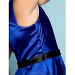 Knee-length Satin Junior Bridesmaid Dress - Royal Blue A-line Scoop Junior Bridesmaid Dresses
