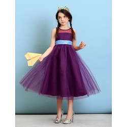 Tea-length Tulle Junior Bridesmaid Dress - Grape A-line / Princess Jewel