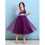Tea-length Tulle Junior Bridesmaid Dress - Grape A-line / Princess Jewel Junior Bridesmaid Dresses