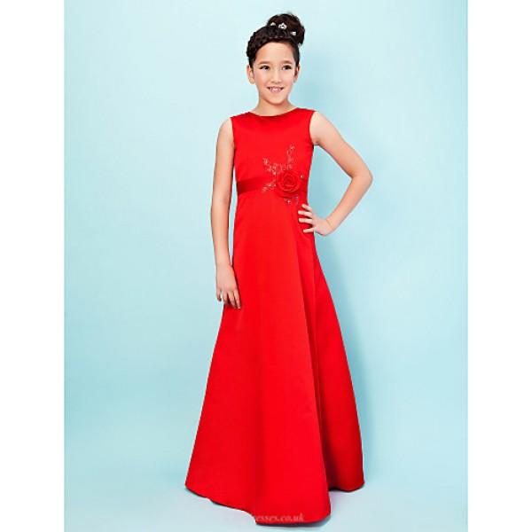 Floor-length Satin Junior Bridesmaid Dress - Ruby A-line / Princess Jewel Junior Bridesmaid Dresses