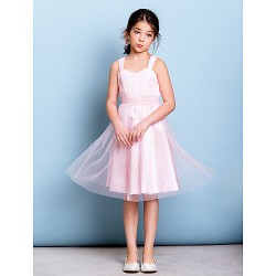 Knee Length Junior Bridesmaid Dress Blushing Pink A Line Straps