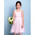 Knee-length Junior Bridesmaid Dress - Blushing Pink A-line Straps Junior Bridesmaid Dresses