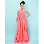 Floor-length Chiffon / Satin Junior Bridesmaid Dress - Watermelon A-line / Princess Halter / Spaghetti Straps Junior Bridesmaid Dresses