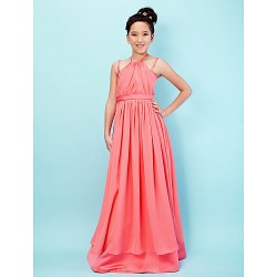 Floor Length Chiffon Satin Junior Bridesmaid Dress Watermelon A Line Princess Halter Spaghetti Straps