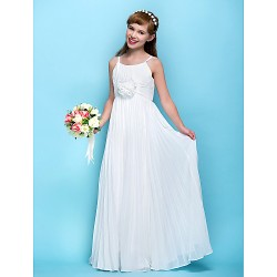 Floor-length Chiffon Junior Bridesmaid Dress - Ivory Sheath/Column Spaghetti Straps