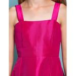 Asymmetrical Taffeta Junior Bridesmaid Dress - Fuchsia A-line Straps / Square Junior Bridesmaid Dresses