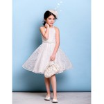 Knee-length Lace Junior Bridesmaid Dress - Ivory A-line Spaghetti Straps Junior Bridesmaid Dresses