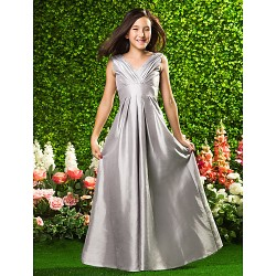 Floor Length Taffeta Junior Bridesmaid Dress Silver A Line Princess V Neck