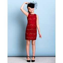 Short Mini Lace Junior Bridesmaid Dress Burgundy Sheath Column Jewel