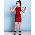 Short/Mini Lace Junior Bridesmaid Dress - Burgundy Sheath/Column Jewel Junior Bridesmaid Dresses