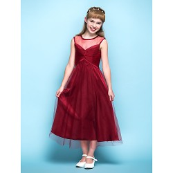 Tea Length Tulle Junior Bridesmaid Dress Burgundy A Line Scoop