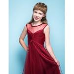 Tea-length Tulle Junior Bridesmaid Dress - Burgundy A-line Scoop Junior Bridesmaid Dresses