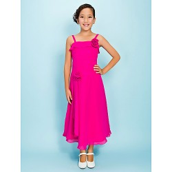 Tea-length Chiffon Junior Bridesmaid Dress - Fuchsia Sheath/Column / A-line Spaghetti Straps