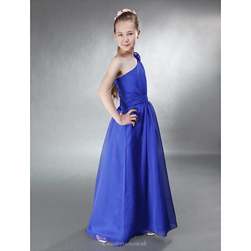 Floor Length Chiffon Junior Bridesmaid Dress Royal Blue