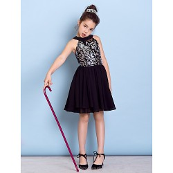 Knee-length Chiffon / Sequined Junior Bridesmaid Dress - Black A-line Jewel