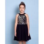 Knee-length Chiffon / Sequined Junior Bridesmaid Dress - Black A-line Jewel Junior Bridesmaid Dresses