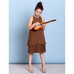 Knee-length Chiffon Junior Bridesmaid Dress - Brown A-line Jewel