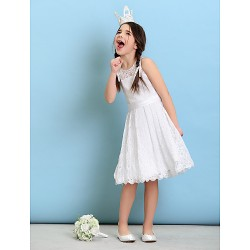 Knee Length Lace Junior Bridesmaid Dress White A Line Princess Jewel