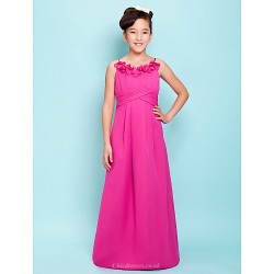 Floor Length Satin Junior Bridesmaid Dress Fuchsia A Line Princess Spaghetti Straps