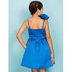 Knee-length Satin Junior Bridesmaid Dress - Royal Blue Ball Gown / A-line Spaghetti Straps Junior Bridesmaid Dresses