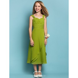 Tea-length Chiffon Junior Bridesmaid Dress - Clover Sheath/Column Straps