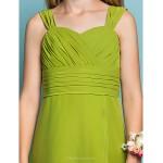 Tea-length Chiffon Junior Bridesmaid Dress - Clover Sheath/Column Straps Junior Bridesmaid Dresses