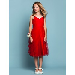 Knee Length Tulle Junior Bridesmaid Dress Ruby Sheath Column Spaghetti Straps