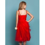 Knee-length Tulle Junior Bridesmaid Dress - Ruby Sheath/Column Spaghetti Straps Junior Bridesmaid Dresses