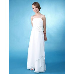 Floor-length Chiffon / Satin Junior Bridesmaid Dress - Ivory Sheath/Column / A-line Spaghetti Straps