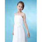 Floor-length Chiffon / Satin Junior Bridesmaid Dress - Ivory Sheath/Column / A-line Spaghetti Straps Junior Bridesmaid Dresses