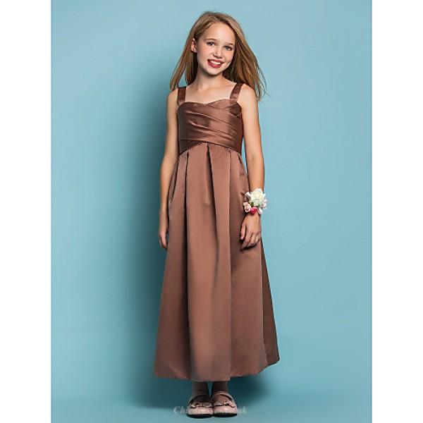 Ankle-length Satin Junior Bridesmaid Dress - Brown Sheath/Column Straps Junior Bridesmaid Dresses