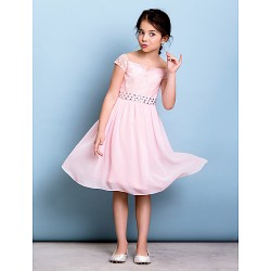 Knee Length Chiffon Lace Junior Bridesmaid Dress Blushing Pink A Line Off The Shoulder