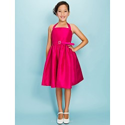 Knee Length Taffeta Junior Bridesmaid Dress Fuchsia Ball Gown Princess Halter