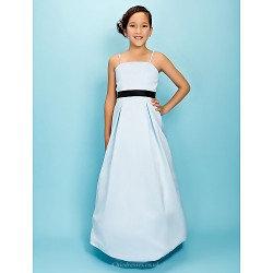Floor Length Satin Junior Bridesmaid Dress Sky Blue A Line Princess Spaghetti Straps