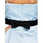 Floor-length Satin Junior Bridesmaid Dress - Sky Blue A-line / Princess Spaghetti Straps Junior Bridesmaid Dresses