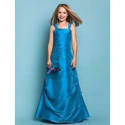 Floor Length Taffeta Junior Bridesmaid Dress Ocean Blue A Line Princess Straps