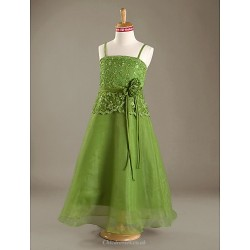 Floor Length Satin Organza Junior Bridesmaid Dress Clover A Line Princess Spaghetti Straps