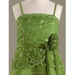 Floor-length Satin / Organza Junior Bridesmaid Dress - Clover A-line / Princess Spaghetti Straps Junior Bridesmaid Dresses