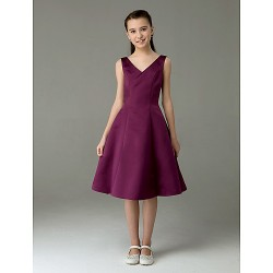 Knee Length Satin Junior Bridesmaid Dress Grape A Line Princess V Neck