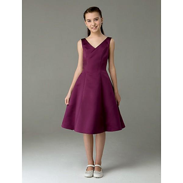 Knee-length Satin Junior Bridesmaid Dress - Grape A-line / Princess V-neck Junior Bridesmaid Dresses