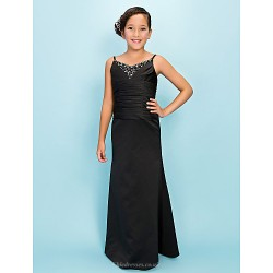 Floor Length Satin Junior Bridesmaid Dress Black Trumpet Mermaid Spaghetti Straps V Neck