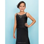 Floor-length Satin Junior Bridesmaid Dress - Black Trumpet/Mermaid Spaghetti Straps / V-neck Junior Bridesmaid Dresses