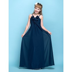 Floor Length Chiffon Junior Bridesmaid Dress Dark Navy Sheath Column Spaghetti Straps