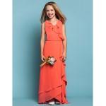 Asymmetrical Chiffon Junior Bridesmaid Dress - Watermelon Sheath/Column V-neck Junior Bridesmaid Dresses