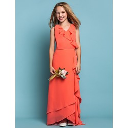 Asymmetrical Chiffon Junior Bridesmaid Dress - Watermelon Sheath/Column V-neck