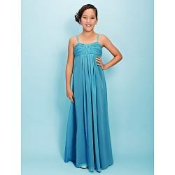 Floor-length Chiffon Junior Bridesmaid Dress - Jade Sheath/Column Spaghetti Straps