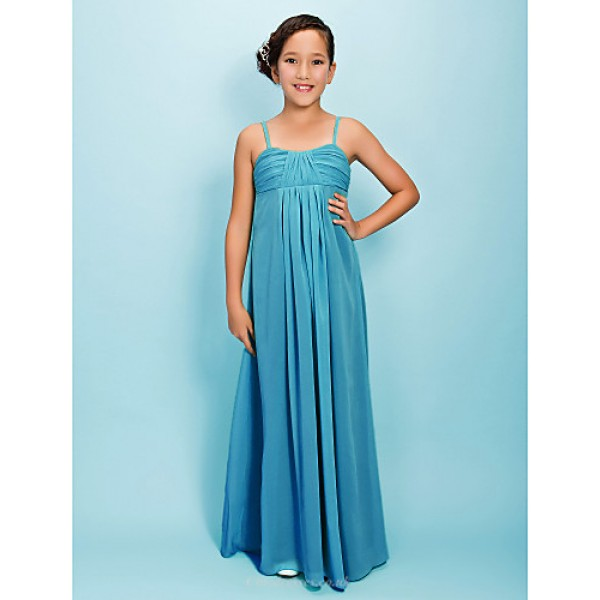 Floor-length Chiffon Junior Bridesmaid Dress - Jade Sheath/Column Spaghetti Straps Junior Bridesmaid Dresses