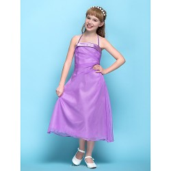 Tea Length Chiffon Junior Bridesmaid Dress Lilac A Line Halter