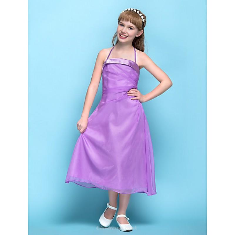 Tea-length Chiffon Junior Bridesmaid Dress