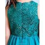 Knee-length Chiffon / Sequined Junior Bridesmaid Dress - Jade A-line Jewel Junior Bridesmaid Dresses